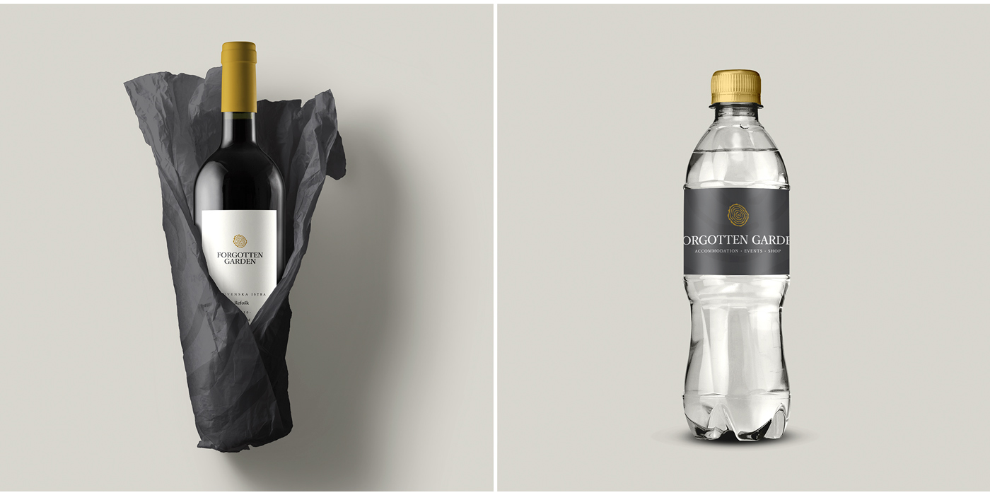 Rok Jurman Design for Forgotten Garden (Portorož) - wine and water bottle