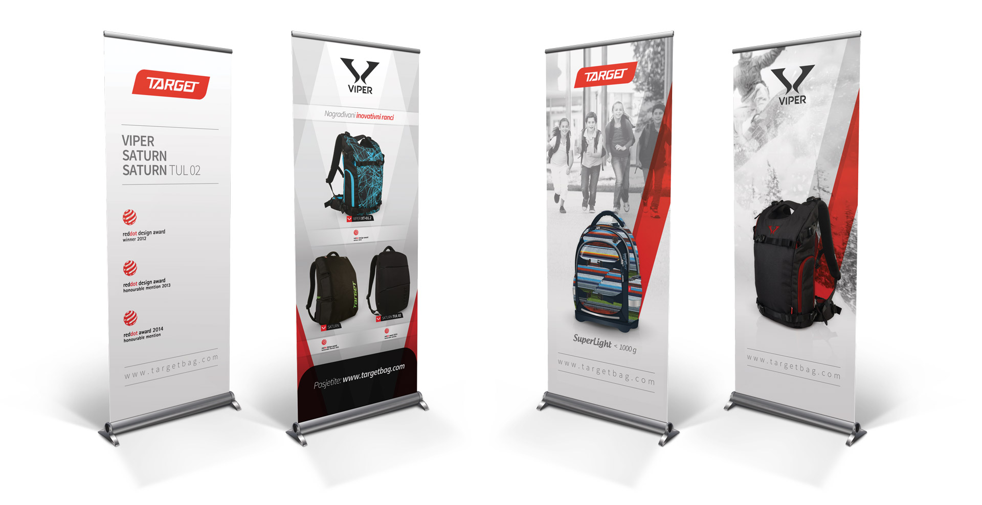 Rok Jurman Design for Target and Viper Bags (Izola) - roll-up banners red dot design award