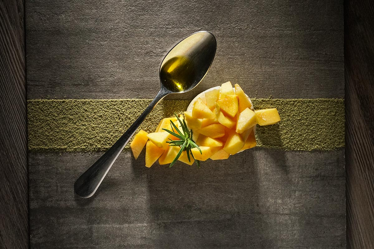 White chocolate mousse, olive oil, rosemary (photo by Rok Jurman Design)
