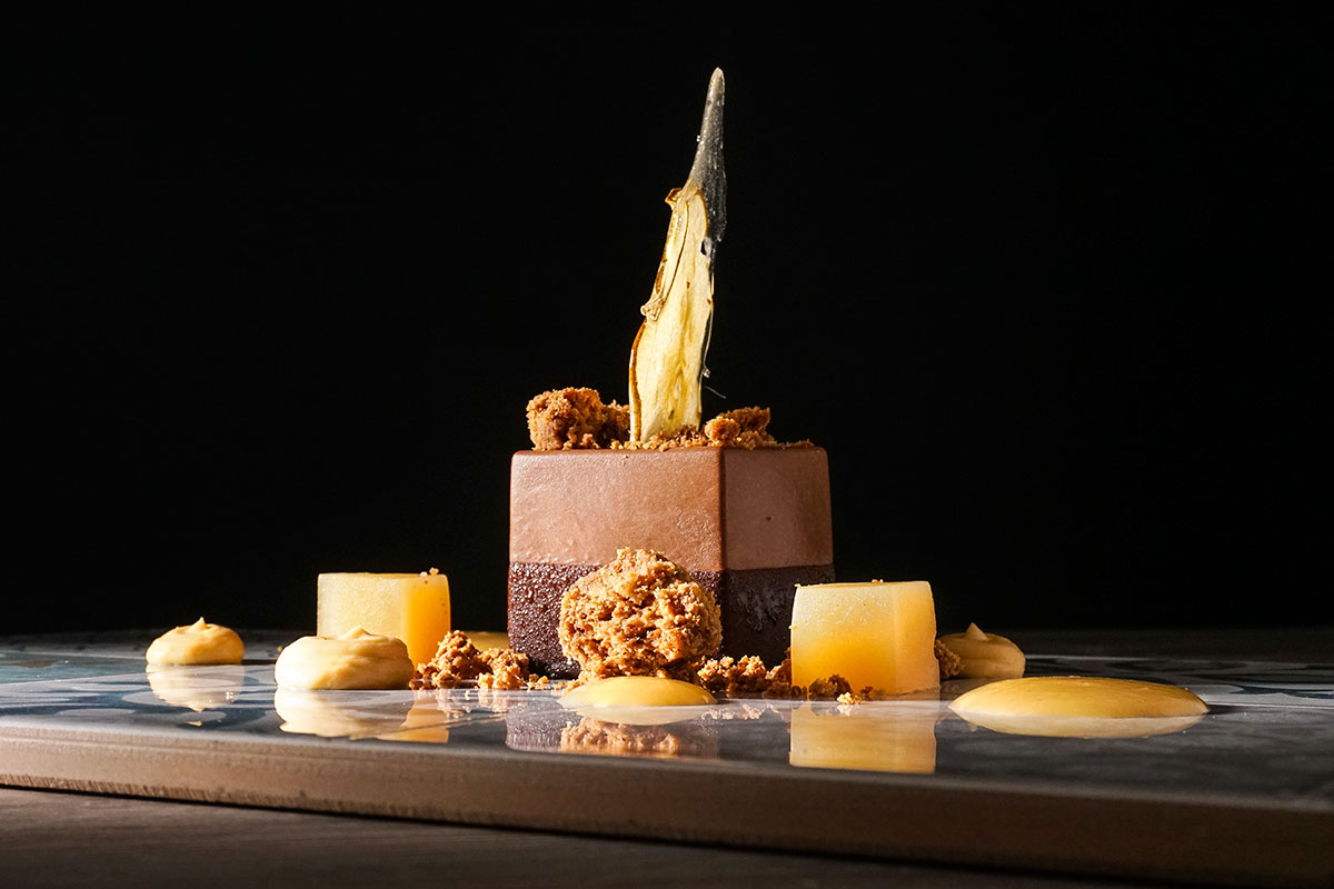 Chocolate mousse, pear jelly, crumble dessert (photo by Rok Jurman Design)