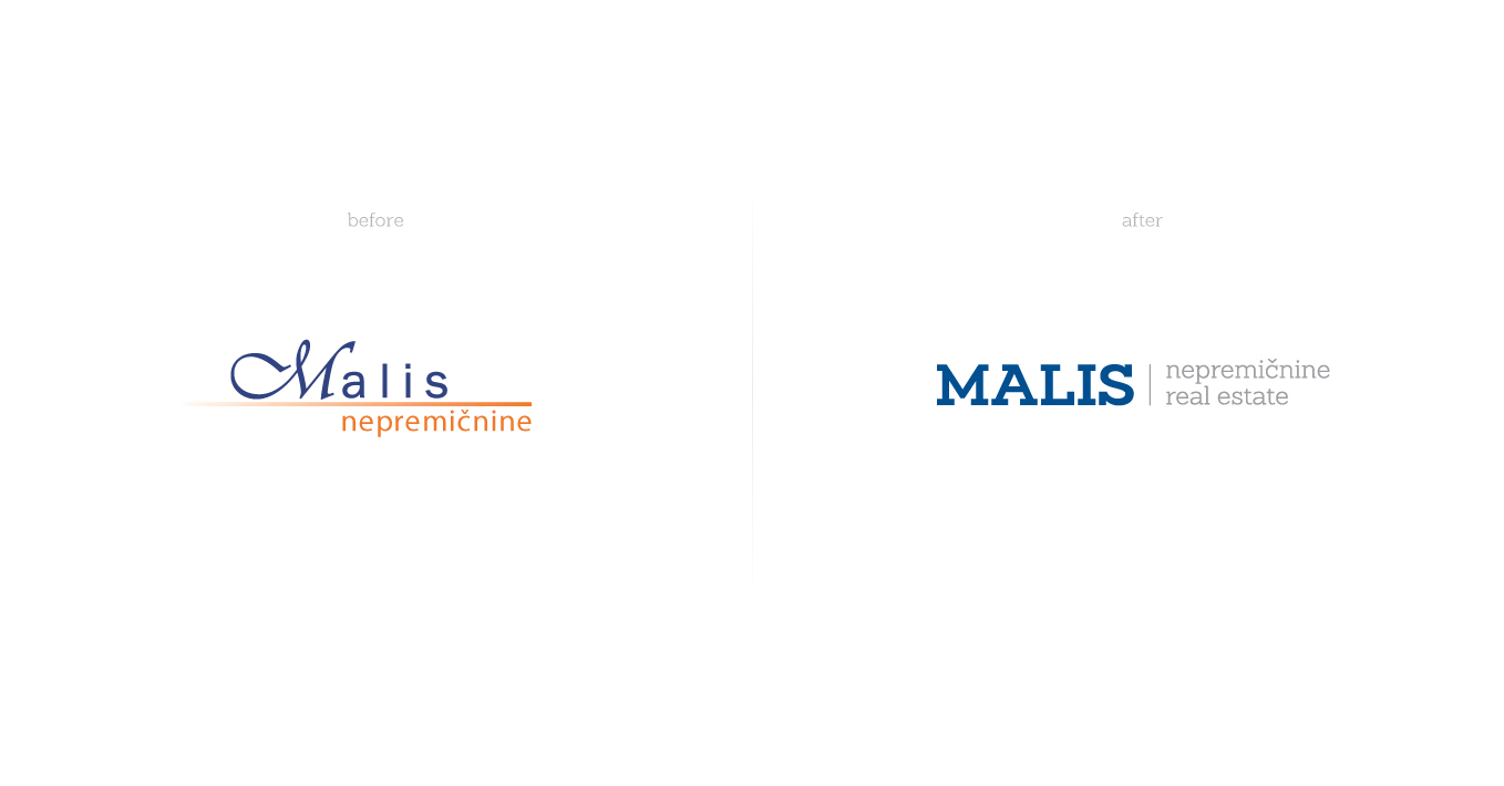Rok Jurman Design for Malis Real Estate (Portorož) - logo before and after